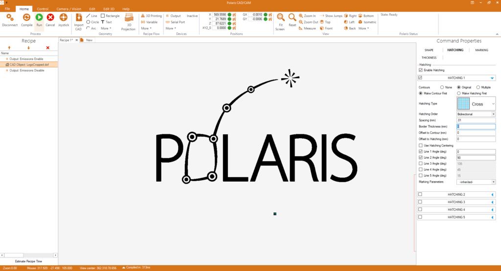 Image of Polaris CAD/CAM software screen for motion control design
