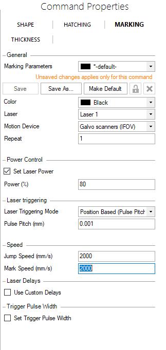 Image of PCC Laser Setup screen